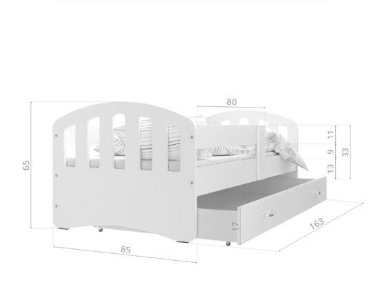 LASTEVOODI HAPPY 160x80 -ROOSA/VALGE