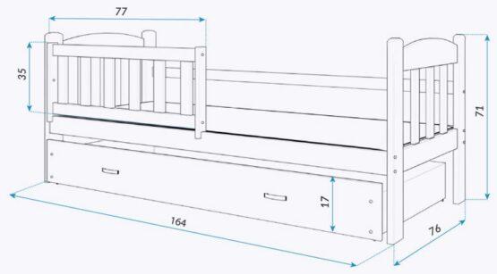 LASTEVOODI TEDI 160x70+PESUKAST+MADRATS-VALGE/HALL