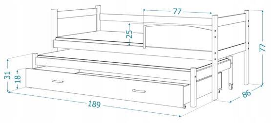2-KOHALINE LASTEVOODI TWIST 2 180X80 LEPP/VALGE